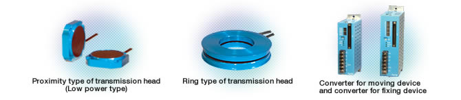 Proximity type of transmission head(Low power type),Ring type of transmission head,Converter for moving device and converter for fixing device